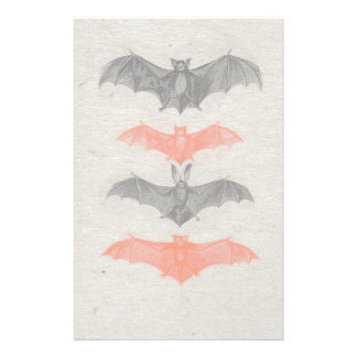 Halloween Orange Black Bats Vintage Gothic Party Customised Stationery
