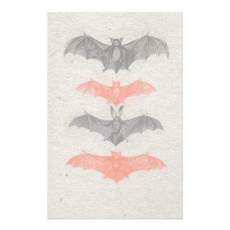Halloween Orange Black Bats Vintage Gothic Party Stationery
