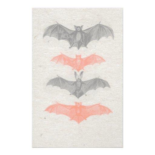 Halloween Orange Black Bats Vintage Gothic Party Stationery Paper