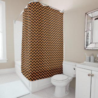 Halloween Orange Black Chevrons Zigzag Patterned Shower Curtain