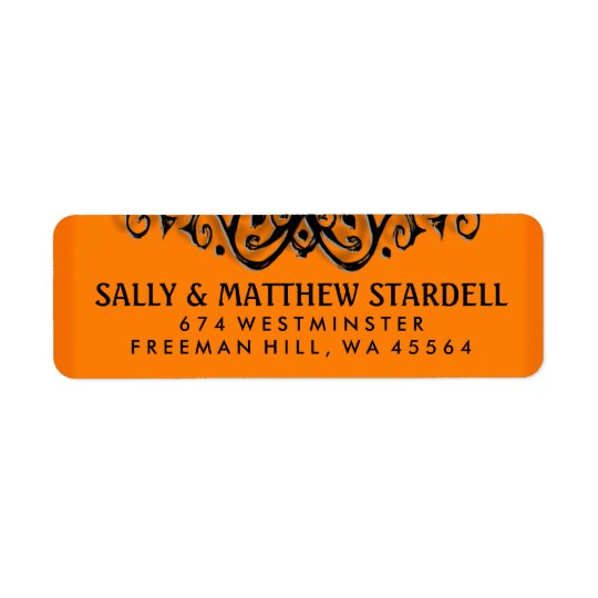 Halloween Orange & Black Elegance Address Label