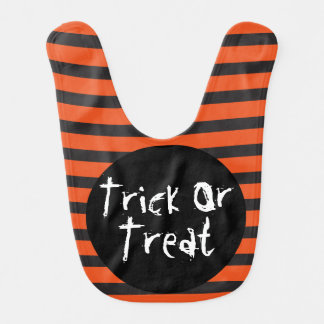 Halloween Orange Black Striped Trick Or Treat Bib