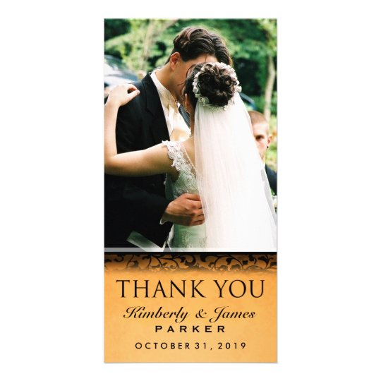 Halloween Orange & Black Wedding Photo Thank You