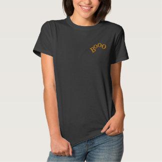 Halloween Orange Booo Design Embroidered Shirt