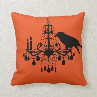 Halloween Orange Chandelier & Raven Pillow