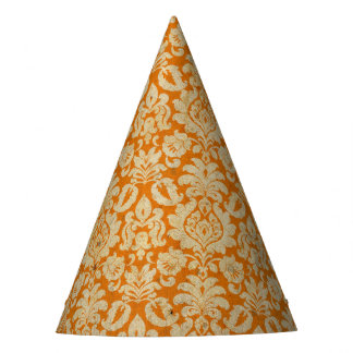 Halloween Orange Grunge Damask Party Hat