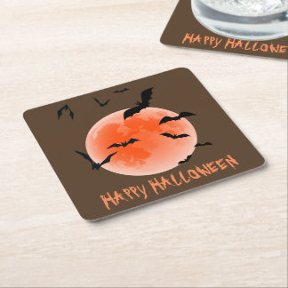 Halloween Orange Moon And Black Bats Square Paper Coaster