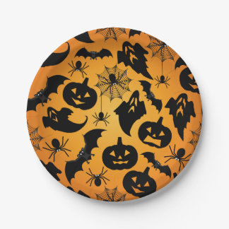 Halloween Orange Paper Plates