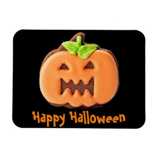Halloween orange pumpkin rectangular photo magnet