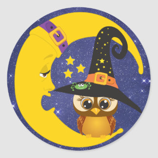 Halloween Owl on The Moon Starlight Stickers