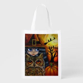 Halloween Owl Witch Cute Big Eye Girl Pumpkin Market Totes