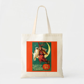 HALLOWEEN OWL & WITCH TOTE BAG