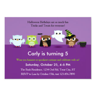 Halloween Owls in Costume Birthday  Invitation