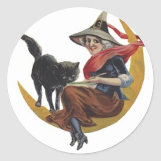 Halloween painting of a Witch on the Moon with Cat Sticker