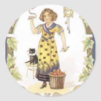 Halloween painting of a Witch, Pumpkin, Cat, Bat Round Sticker