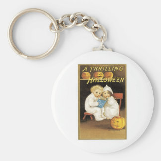 Halloween Painting of Children Reading Ghost Story Basic Round Button Key Ring