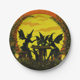 Halloween paper party plates, witches tea party paper plate
