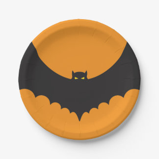 Halloween Paper Plate | Devil Bat Black and Orange