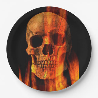 Halloween Paper Plates/Skull on Fire 9 Inch Paper Plate