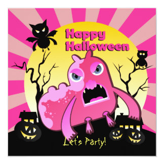 """Halloween Party Angry Pink Monster 5.25"""" Square Invitation Card"""