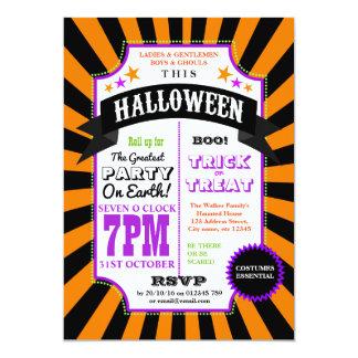 Halloween Party Black and Orange Carnival invite