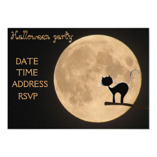 Halloween party black cat full moon 13 cm x 18 cm invitation card