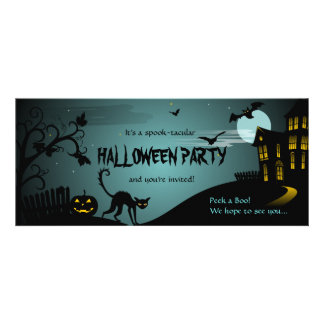 Halloween Party Black Cat Haunted House Blue Custom Invites