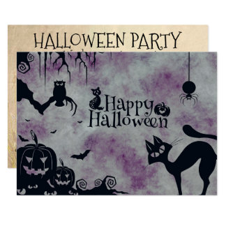 Halloween Party Black Cat Invitation Personalized