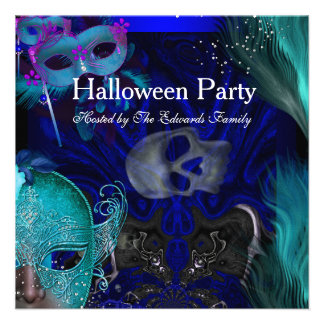 Halloween Party Blue Teal Masks Masquerade Party 2 Personalized Invite