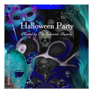 Halloween Party Blue Teal Masks Masquerade Party Custom Announcement