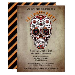 Halloween invitations announcements zazzle uk halloween party bright sugar skull day of the dead invitation stopboris Choice Image