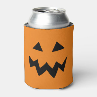 Halloween party can coolers with pumpkin face