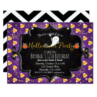 HALLOWEEN PARTY Candy Corn Ghost Invitation