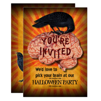 Halloween Party - Creepy Raven on Brain Custom Card