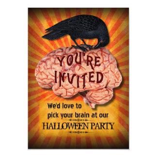 Halloween Party - Creepy Raven on Brain Custom 13 Cm X 18 Cm Invitation Card
