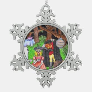 Halloween Party Ghost Headless Horseman Pewter Snowflake Decoration