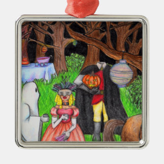Halloween Party Ghost Headless Horseman Silver-Colored Square Decoration