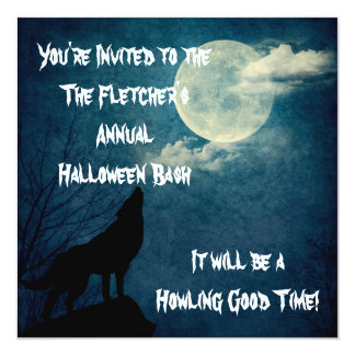 Halloween Party Howling Wolf Full Moon Card