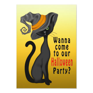 HALLOWEEN PARTY INVITATION - BLACK CAT - CUTE