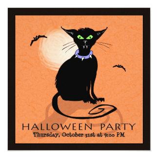 Halloween Party Invitation - Black Cat - Square