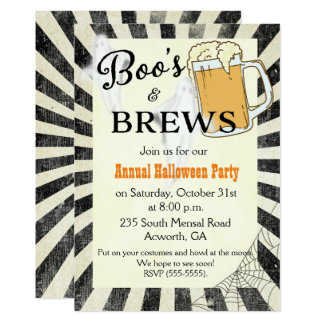 Halloween Party Invitation Boo's and Brews