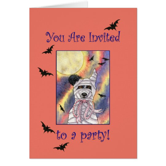Halloween party invitation, border collie dog card