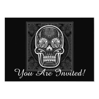 Halloween Party Invitation Card Black Skull