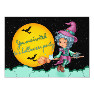 halloween party invitation card with cute witch