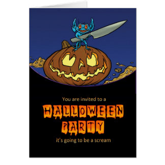 halloween party invitation card with imp carving a