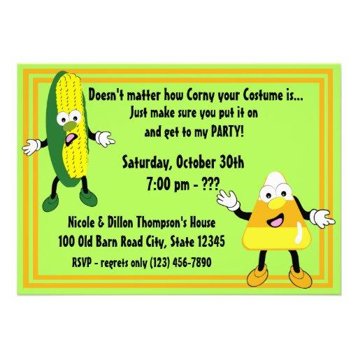 Halloween Party Invitation/ Corny