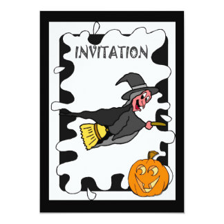 Halloween party Invitation flying witch