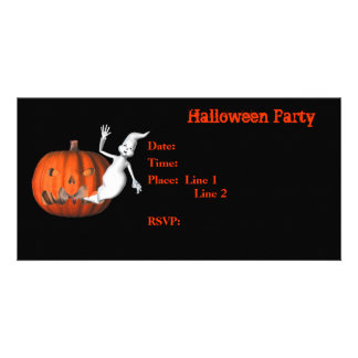 Halloween Party Invitation Ghost Pumpkin Card Photo Greeting Card