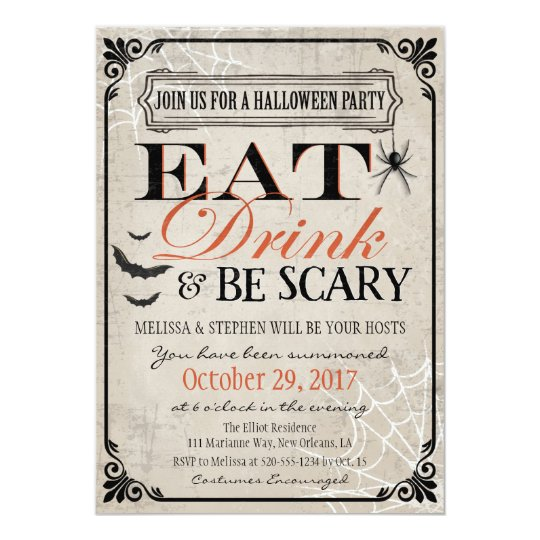 Halloween Party Invitation, Halloween Birthday Card