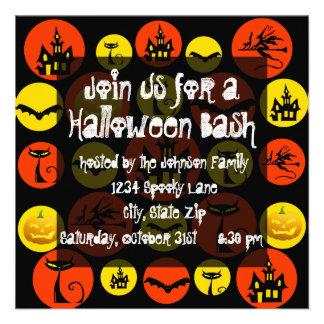 Halloween Party Invitation Haunted House Black Cat